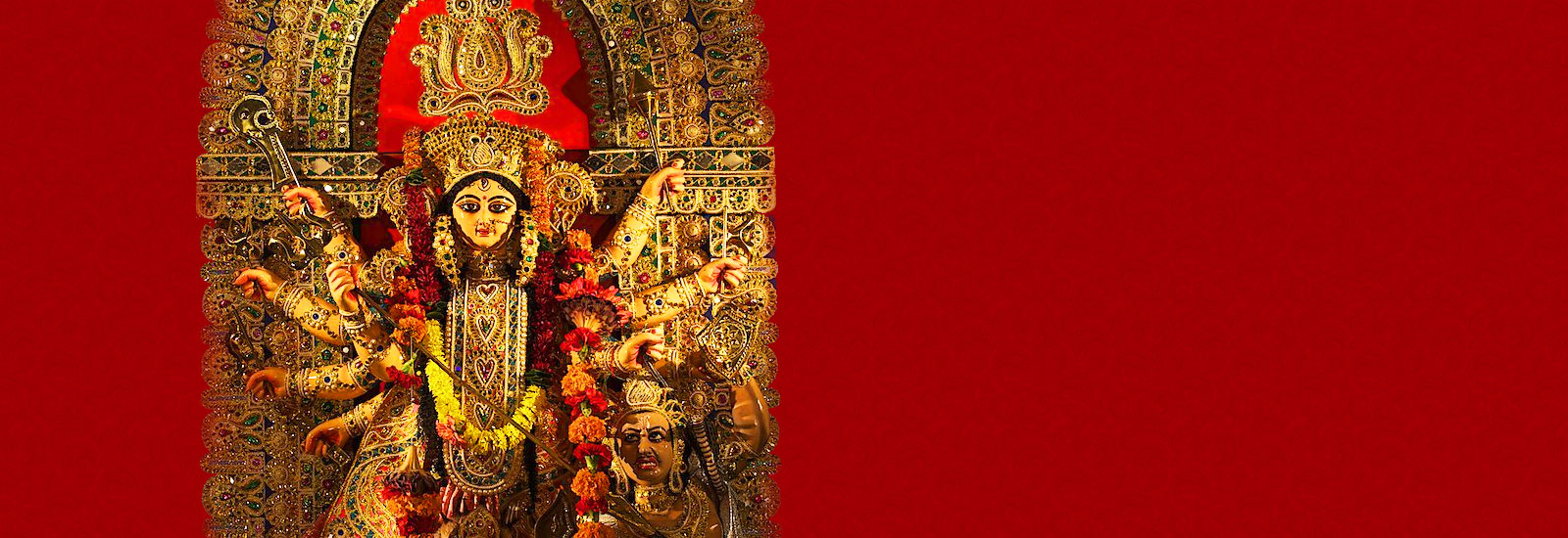 Durga puja with text